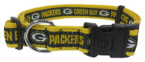 NFL Green Bay Packers Dog Collar, X-Large SUPER TOUGH with Anti-Open Safety Lock Button