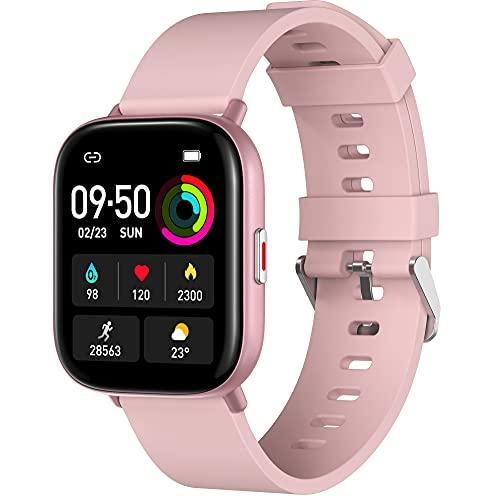 Smartwatch 1,65 Zoll HD Display, VASTKING M3 Fitness Tracker Armbanduhr mit Blutsauerstoff- und Herzfrequenzmesser, 7+ Tage Akkulaufzeit, IP68 wasserdichte Sportuhr Finessuhr für Damen Herren(Rosa)