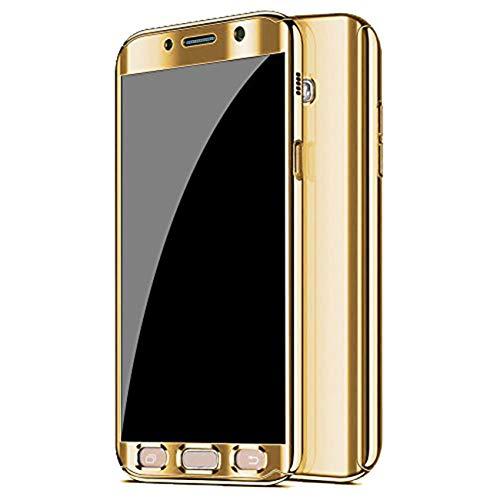 Qissy Hülle für Galaxy A5 (2017) /Galaxy A7 (2017), Ultra Thin 3 in 1 Handytasche Hart Spiegel Schutzhülle für Galaxy A5 (2017) /Galaxy A7 (2017) Cover (Gold, Samsung Galaxy A5 (2017))