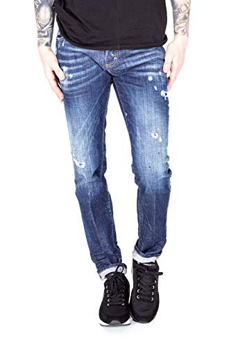 Dsquared² S71LB0364 Slim Jean Herren Men Jeans Hose Made in Italy Blau Blue (IT 52 - EU ca.34-36)