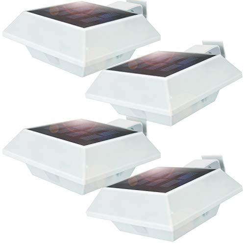 Uniquefire Weiße Solarlampe 12 LEDs Dachrinnen Außenlampe Leuchte Wandlampe Solar Kaltweiße Licht für Garten, Terrasse, Fahrtweg, Höfe, Traufen (4 STK.)