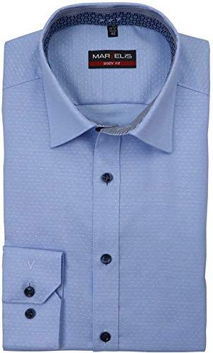 Marvelis Body Fit Hemd extra Langer Arm New Kent Kragen Muster blau Größe 42