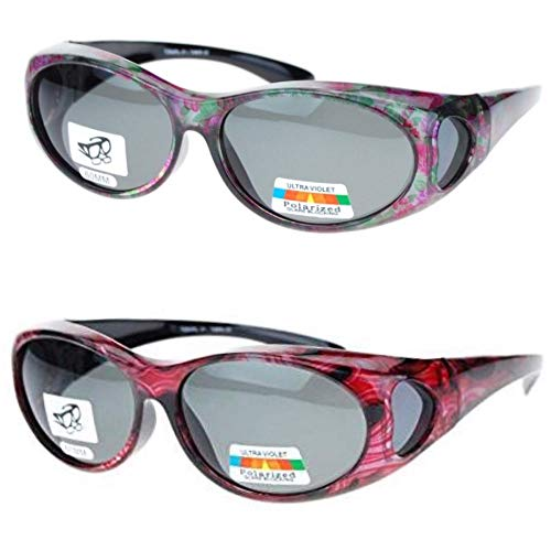 2 Pair Polarized Fit Over Oval Sunglasses - small -Bright Red/Floral