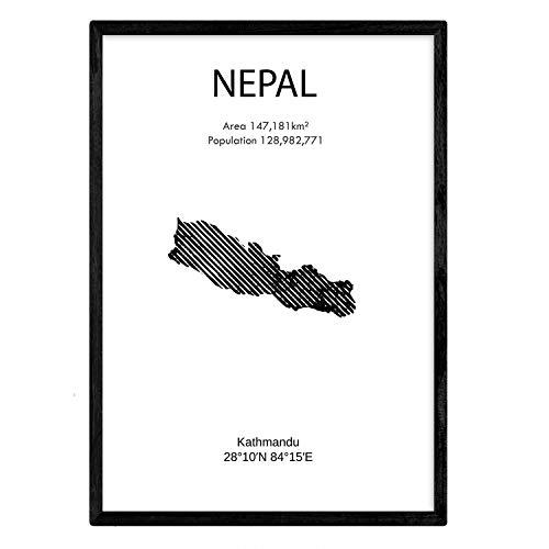 Poster uit Nepal. Bladeren uit landen en continenten. A3-formaat