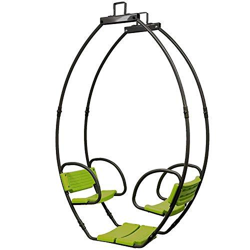 Loggyland Doppelschaukel Gondelschaukel aus Metall Schaukelsitz für 2 Kinder, 1700x445x1140mm, grau grün