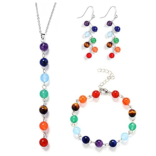 Conjuntos de joyas Cuentas de piedra natural 7 Chakra Balance Collares Pendientes Pulseras para mujeres estilo 2