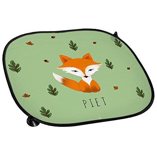 Auto-Sonnenschutz mit Namen Piet und schönem Motiv mit Aquarell-Fuchs für Jungen | Auto-Blendschutz | Sonnenblende | Sichtschutz