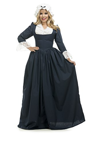 Charades Women's Colonial Woman Costume Dress, Navy, X-Small