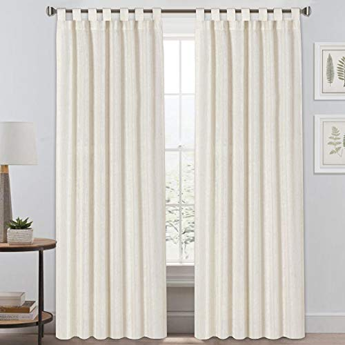 Light Reducing Natural Linen Curtains for Living Room/Bedroom Privacy Assured Semi Sheer Textured Flax Curtain Draperies Light Filtering Soft and Durable, Tab Top 2 Panels (52\' W x 84\' L, Ivor