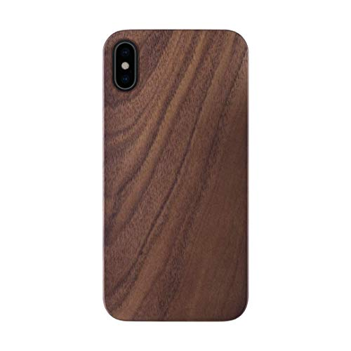iATO iPhone X Wood Case. Real Walnut iPhone X Case Wood. Minimalistic Classic Dark Wood iPhone X Case 5.8' New 2017 Supports Wireless Charging – Natural Wooden Overlay & Black Polycarbonate Bumper