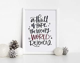 A thrill of hope, the weary world rejoices, Christmas printable decor wall art, Christmas Sign, Holiday Decor, Holiday Printable