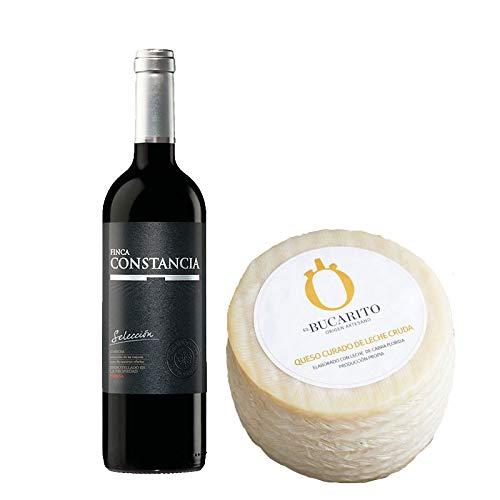 Pack de Vino tinto Finca Constancia Seleccion y Queso Curado de Leche Cruda - Vino de 75 cl y Queso de 900 g aprox - Mezclanza