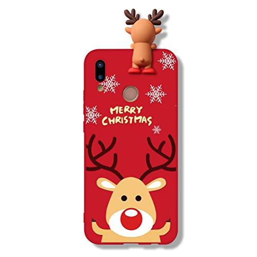 Yoedge Huawei P20 Lite Hülle, 3D Karikatur Puppe Rot Silikon TPU Weihnachten Schutzhülle Stoßfest mit Cartoon Tiere Muster Motiv Handyhülle Soft Case Cover für Huawei P20 Lite, Hirsch 3