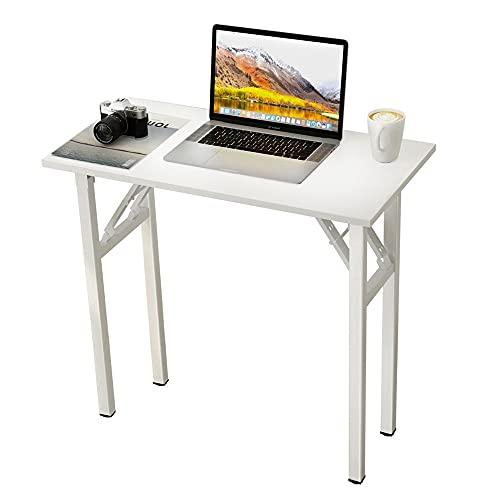 sogesfurniture Mesa Escritorio Plegable, 80x40 cm Escritorio Compacto Mesa de Ordenador Mesa de Estudio Mesa de Trabajo Plegable para Hogar Oficina, Picnic, Blanco BHEU-LP-AC5WW-8040