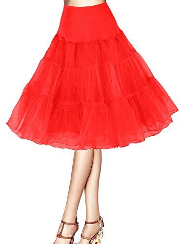 Petticoat Unterrock 50er Jahre Krinoline Hoopless Kleid Tutu Petticoat Kleid 50s tüllrock Rockabilly net Petticoat Skirt Crinoline Vintage Retro Mehreren Farben Röcke Swing Kleid