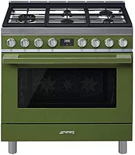 Smeg Portofino CPF36UGMOG 36''x 25'', 4.5 cu. ft. Oven Freestanding Pro-Style Dual Fuel Range, Olive Green