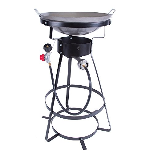 Single Burner Camp Stove with Cast Iron Burner, Wok Included