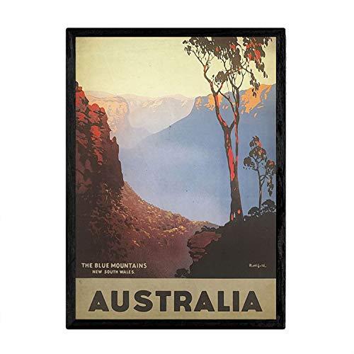 Nacnic Poster Vintage de Australia - Montañas Azules. Láminas para Decorar Interiores con imágenes Vintage y de Publicidad Antigua. Cuadros decoración Retro. Tamaño A3