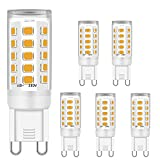 G9 LED Bombillas Blanco cálido 5W Equivalente a 28W 33W 40W Halógeno Bombillas, G9 Enchufe Lámparas para Cristal Techo Luces, 2700K, CA 220-240V, 400LM, sin parpadeo, no regulable, paquete de 5