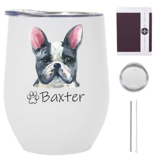French Bulldog Wine Tumbler - 12 oz Stainless Steel Tumbler with Straw - French Bulldog Tumbler for Women - French Bulldog Travel Mug with Lid - Frenchie Tumbler with Straw - Made in the USA