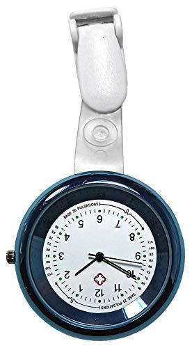 Ellemka - JCM - 2103 NN H+ PS | Krankenschwesternuhr Damen Pflege | Taschenuhr Ansteckuhr Analog | Digitales Quarzwerk | Hängeband aus ABS Kunststoff | Pulsskala Hellbau Light Blue