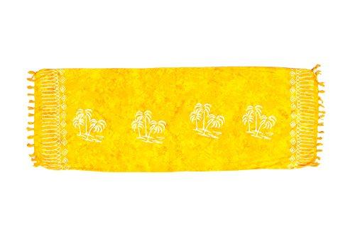 ManuMar sarong donna non trasparente come mini-gonna (155x55cm) | pareo bambini telo da mare | gonna a portafoglio | foulard leggero giallo sfrangiato con motivo di palmo | spiaggia |