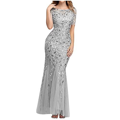 Briskorry Vestido de noche para mujer, cuello redondo, manga corta, cintura alta, falda plisada, elegante, sexy, vestido de lentejuelas, vestido de novia, vestido de fiesta, Silber5, XXL