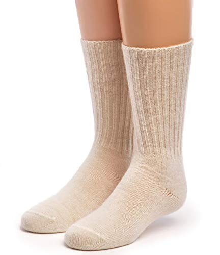 Warrior Alpaca Socks - Superfine Alpaca Wool Socks - Cuff-able Crew - Solid – Ribbed (Girl's Youth (10-13), Off White)