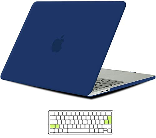 iNeseon Macbook Pro 15 Inch Case 2019/2018/2017/2016, Slim Hard Shell Protective Case with Keyboard Cover for Macbook Pro 15 with Touch Bar & Touch ID Model A1990/A1707, Navy Blue