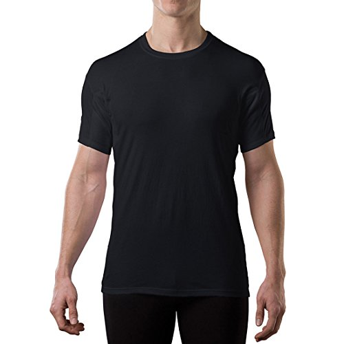 Sweatproof Undershirt for Men with Underarm Sweat Pads (Original Fit, Crew Neck) Black