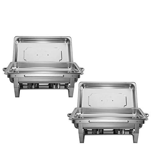 CO-Z Scaldavivande in Acciaio Inox Contenitore Vassoio di Riscaldamento 9L Pentole di Riscaldamento Chafing Dish per Buffet di Catering e Feste (2 Pezzi)