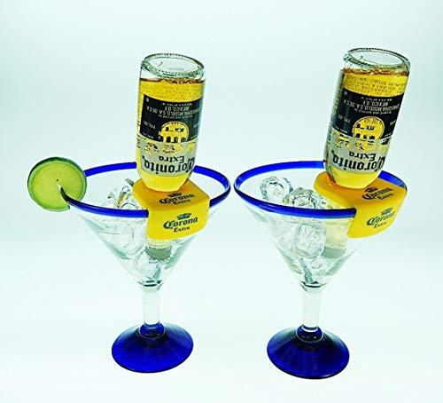 Mexican Glass Margarita Blue Rim 20 Oz with Coronarita Clips Corona Beer Holders (set of 2)