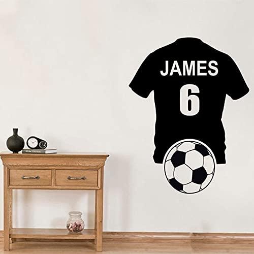 Etiqueta engomada del arte de la pared de la camiseta de fútbol personalizada, papel adhesivo de vinilo, etiqueta de la pared mural de la decoración de la familia del ventilador otro color 74X57CM