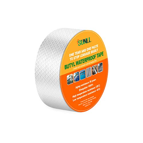 """SUNLL Butyl Waterproof Tape 2""""W X 16'L, Upgraded Leak Proof Butyl Seal Strip, Multi-Use Repair for Boat and Pipe Sealing, HVAC Ducts, Roof Crack, RV, Awning, Window Sealing, Silver"""
