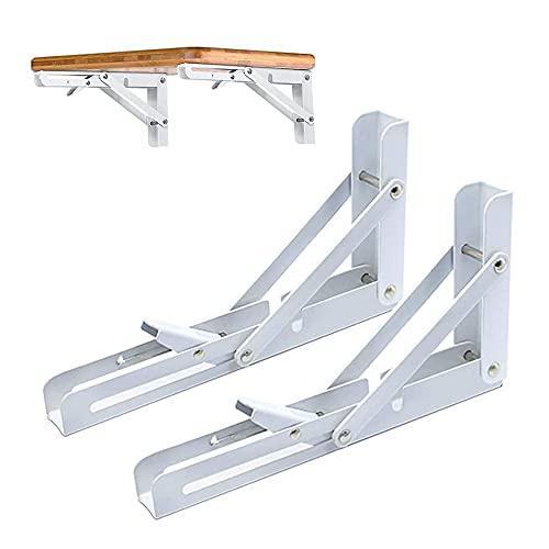 2 Piezas Soportes para Estantes Plegables, Soportes de Metal Triangulares Plegables, Soporte...