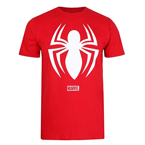 Marvel Spiderman Logo T-Shirt, Cherry Red, X-Large Homme