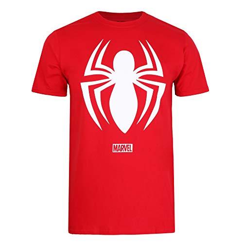 Marvel Spiderman Logo T-Shirt, Cherry Red, Medium Uomo