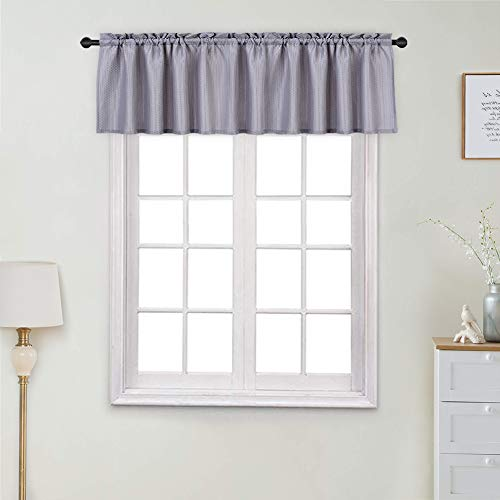 """Haperlare Valance for Bathroom, Waterproof Waffle Woven Textured Shower Curtain Valance Short Window Curtains, Rod Pocket Kitchen Valance Curtain Cafe Curtains, 60"""" x 15"""", Grey, One Panel"""
