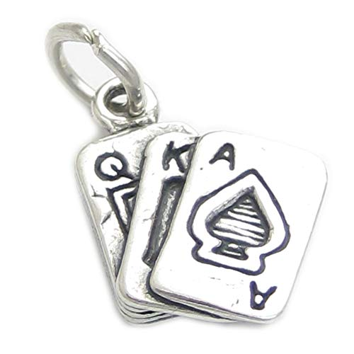 Spielkarten Sterlingsilber Charm .925 X1 Poker Whist Bridge Kartenspiele cf4099