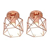2pcs Lámpara de Techo Hexagonal Diamante Creativo Moderno Metal Retro Estilo Gótico Industrial Exquisita Iluminacion para escalera club baño(Oro rosa)
