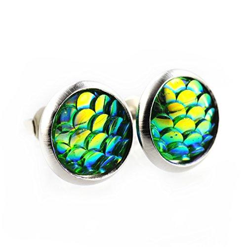 SCHMUCKZUCKER Damen Ohrstecker Meerjungfrau kleine süße Modeschmuck Ohrringe grün 12mm