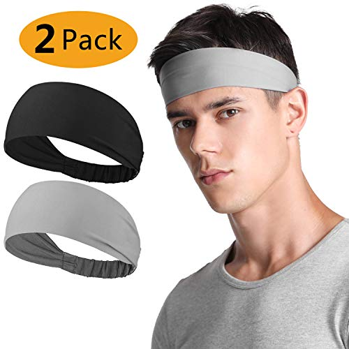 Neitooh Headbands for Men Women2 Pack Mens Headband Elastic Sweat Wicking Non Slip for Workout Running Sports Travel Fitness Riding Cycling Hiking Lightweight Breathable Headscarf Sweatbands