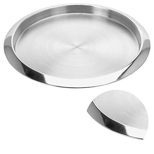 DRULINE Tablett aus Edelstahl Rund Ø ca. 35 cm Silber Glatt 3 Stück
