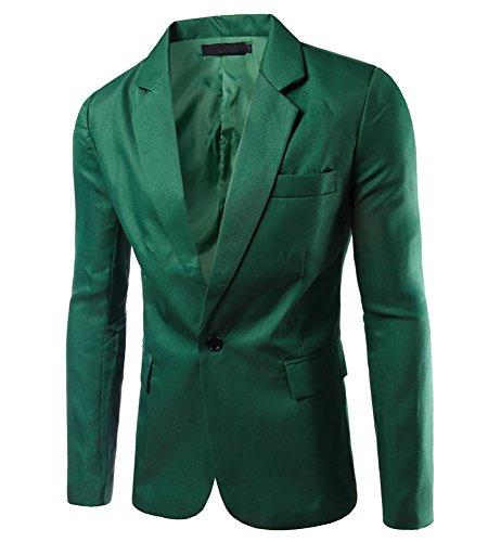 MISSMAO Uomo Slim Cappotti Elegante Blazer Coat Jacket Giacca Top Outwear Erba Verde M