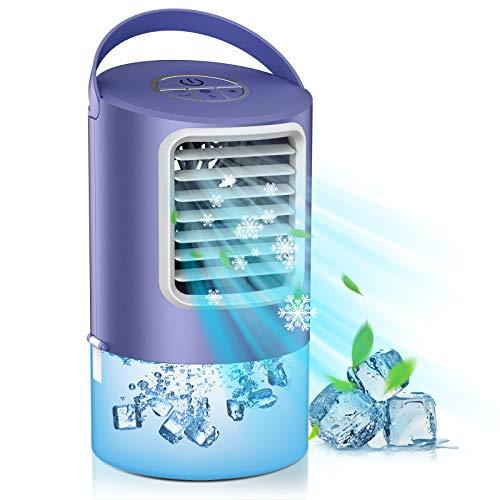 Mini Raffreddatore d'Aria, Condizionatore d'Aria Silenziosi 3 in 1, Cooler Ventilatore Personale, Ventilatore Evaporativo Portatile, Luce LED a 7 Colori, 2/4 Timer, 3 Velocità per Ufficio, Casa