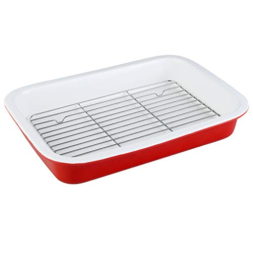DUS Ceramic 13×9 Inches Baking Dish Pan with Rack for Oven Cooked Bacon Roasts Lasagna,Daily Use at Home,Red