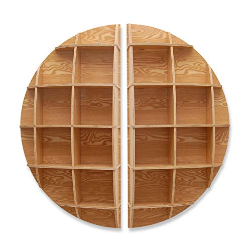 ADM - Round Furniture - Ash-coloured and circular-shaped MDF 3D puzzle, a furniture for hanging on the wall suitable for bookcase use or simply as a decorative piece of furniture - Wood - H120 cm