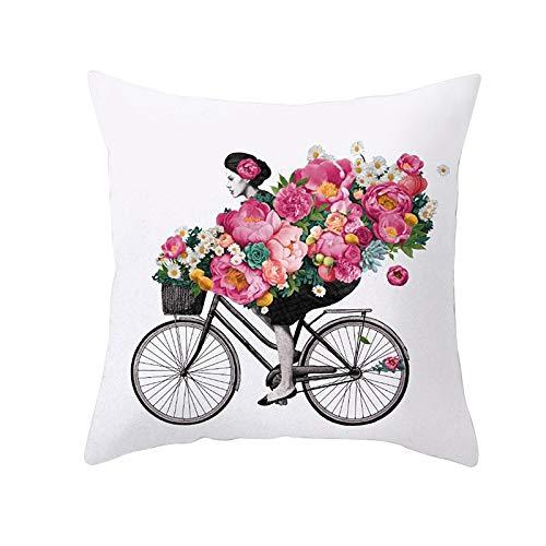 Funda de Cojín Decorativos Funda de Almohada Flor de bicicleta Cuadrado Terciopelo Suave Cojines Decoracion con Cremallera Invisible para Sofá Cama Decor Hogar Funda de Cojín M396 Pillowcase,55x55cm