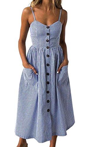 Angashion Damen V Ausschnitt Spaghetti Buegel Blumen Sommerkleid Elegant Vintage Cocktailkleid Kleider, Größe: XL, Farbe: Navy Blau Streifen