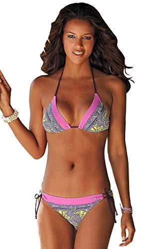JETTE Damen Triangel Bikini (Gelb, 34 (65))